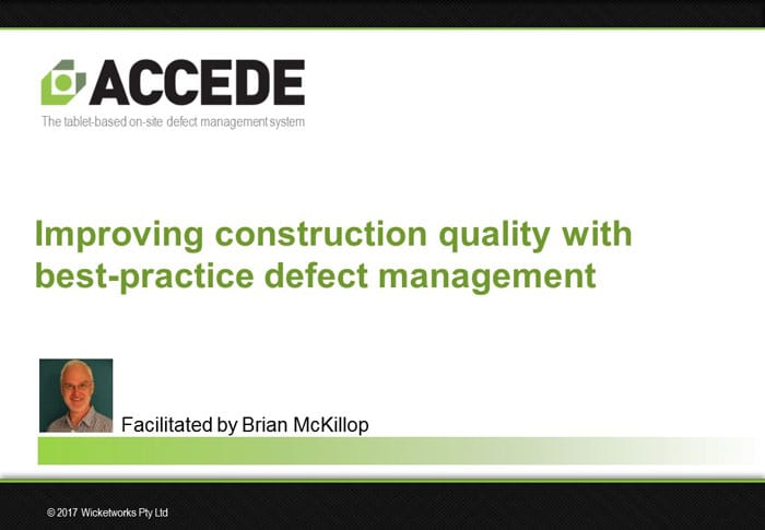 Best practice defect management in the construction industry